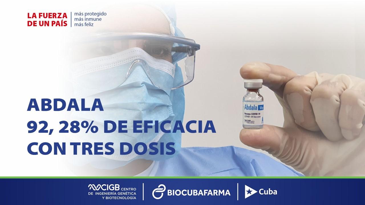 Cuba confirma 92,28% de eficacia de vacuna Abdala
