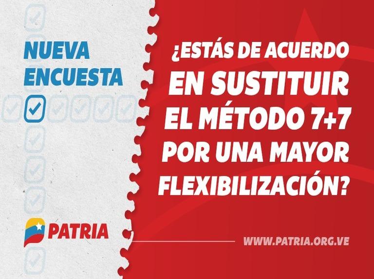 Encuesta Patria: 62,6% de los venezolanos está de acuerdo en sustituir el método 7+7